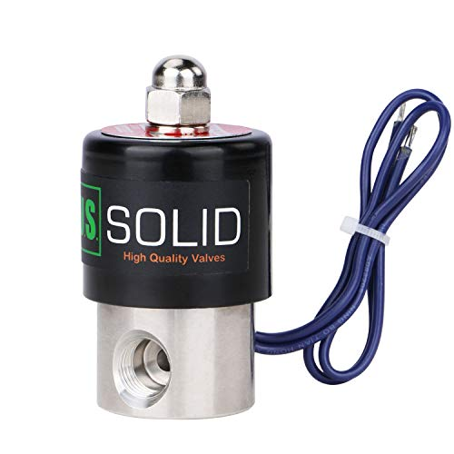 "U.S. Solid 1/4"" Stainless Steel Electric Solenoid Valve 12VDC Normally Closed VITON"