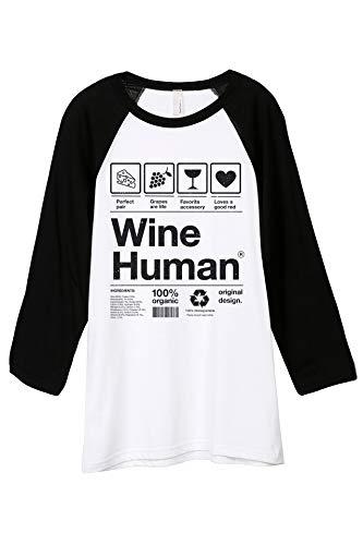 Thread Tank Wine Human Unisex 3/4 Sleeves Baseball Raglan T-Shirt Tee White Black 2X-Large