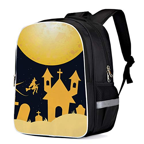 Halloween Night Castle on the Full Moon Print Durable Casual Backpack Back to School Book Bag -