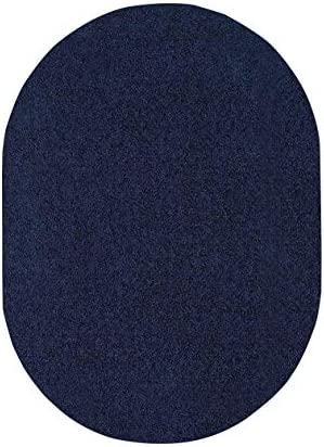 Home Cool Solid Colors Wind Dancer Collection Area Rugs Navy – 8 x10 Oval with Non Slip Backing