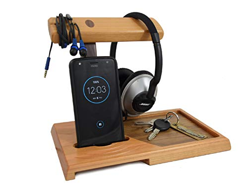 American Cherry Wood Valet Tray with Headphone Stand and Acoustic Phone Amplifier