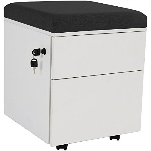 - Rolling Mobile Pedestal Storage Cabinet with Lock and Cushion, Steel 2-Drawer for Home or Office by CASL Brands, Black