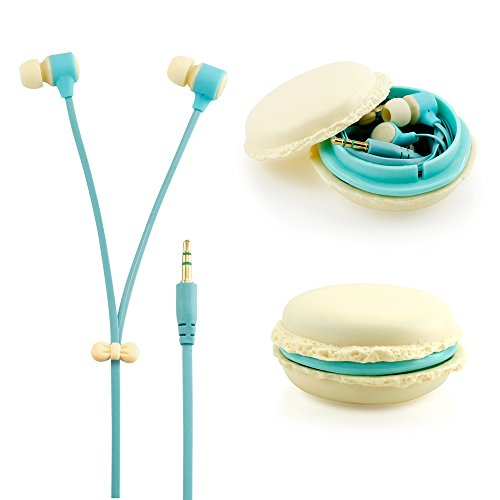 GEARONIC TM Cute 3.5mm in Ear Earphones Earbuds Headset with Macaroon Ear Buds Organizer Box Case for iPhone,for Samsung,for Mp3 iPod Pc Music - Beige