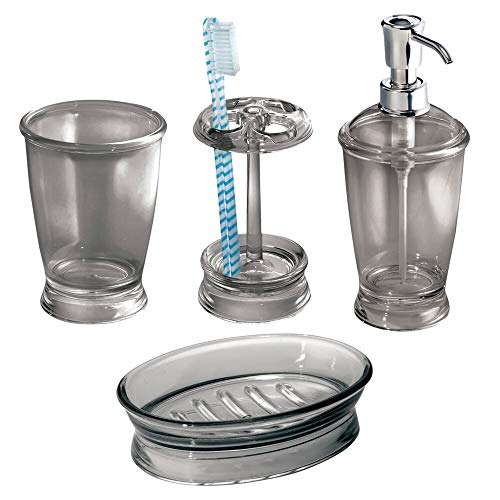 mDesign Plastic Bathroom Vanity Countertop Accessory Set - Includes Refillable Soap Dispenser, Divided Toothbrush Stand, Tumbler Rinsing Cup, Soap Dish - 4 Pieces - Smoke Gray (Accessories Gray Bathroom Set)