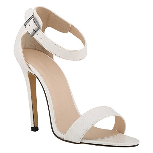 DULEE - Sandalias de vestir de piel para mujer Weiß