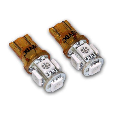 - TuningPros LEDDSI-T10-YS5 Directional Signal Indicator LED Light Bulbs T10 Wedge, 5 SMD LED Yellow 2-pc Set