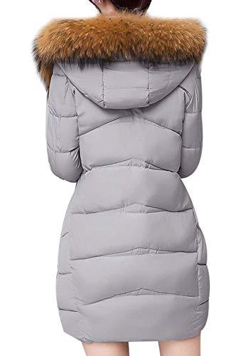 Invernali Piumino Fashion Grau Cappotti Tasche A Chiusura Donna Cerniera Casual Termico Autunno Giacca Trapuntata Con Calda Manica Costume Lunga Huixin Cappotto tqx5RYAww