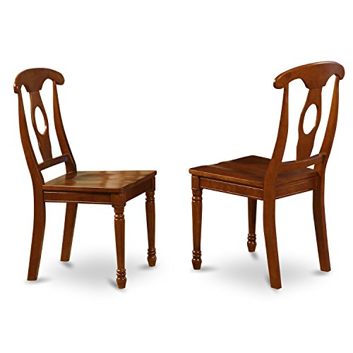 East West Furniture NAC-SBR-W Styled Chair Set with Wood Seat, Set of 2 ()