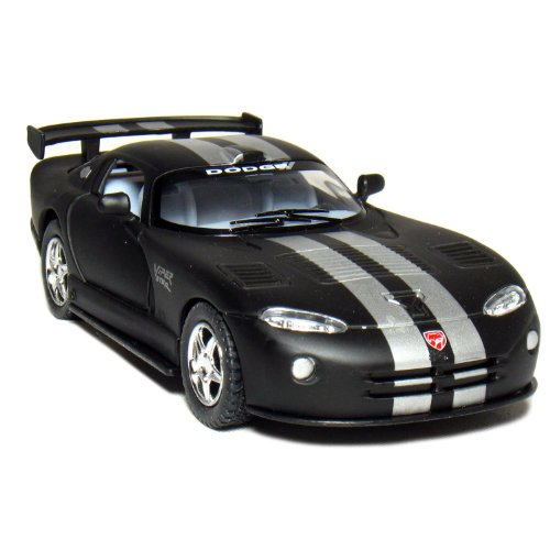 5-dodge-viper-gts-r-136-scale-matte-black-silver-stripes-by-kinsmart