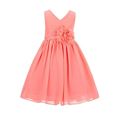 Chiffon Bodice (ekidsbridal Elegant Yoryu Chiffon V-Neck Bodice Flower Girl Dress Wedding Toddler Birthday S1503)