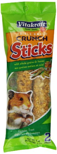 Vitakraft Hamster Whole Grains & Honey Treat Sticks 2 Pack, 4 Ounce