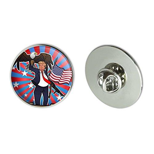 """cheap Patriotic Donald Trump with Eagle American Flag Gun Metal 1.1"""" Tie Tack Hat Lapel Pin Pinback"""