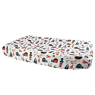 Bebe au Lait Nautical Oh-So-Soft Muslin Changing Pad Cover, Blue, One Size, CPBBNT