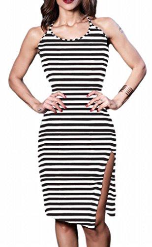 Midi 2 Halter Stripe Sleeveless Bodycon Dress Womens Backless Jaycargogo qCxzRR