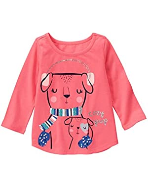 Girls Clothing Coral Long Sleeve Shirt with Pups and Jack Blue Joggers 12 /18 months