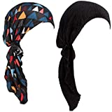Womens Chemo Hat Pre Tied Ruffle Head Scarves Turban Headwear for Cancer (2pack Black+Black Print Flower)