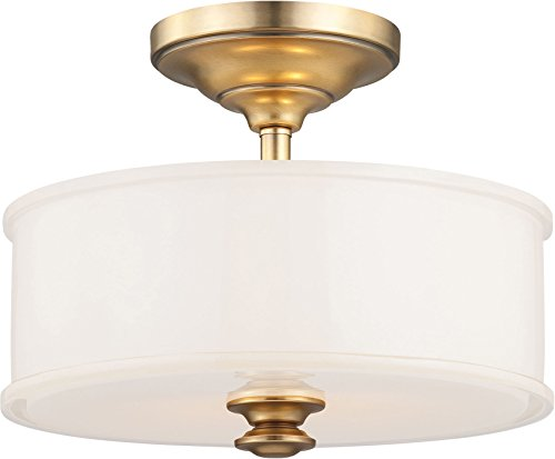 Gold Ceiling Light - Minka Lavery 4172-249 Harbour Point Semi Flush Mount Ceiling Light, 2-Light, 120 Watts, Liberty Gold (14