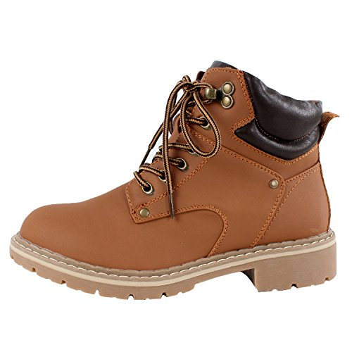 Forever Womens Ankle High Combat Hiking Boots Tan Pu kneDS9I