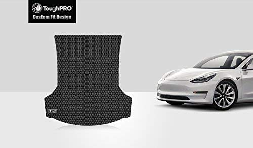 ToughPRO Tesla Model 3 Trunk Mat - All Weather- Heavy Duty - Black Rubber - 2017-2018-2019