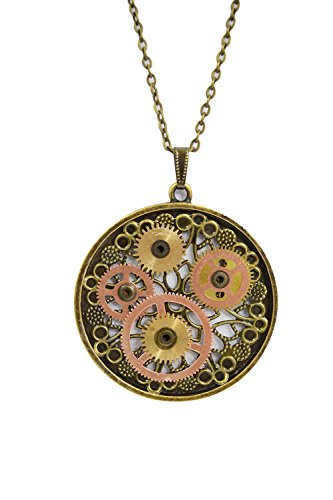 Western Vintage Steampunk Gears with Filigree Round Pendant Necklace (Brass Rotor)