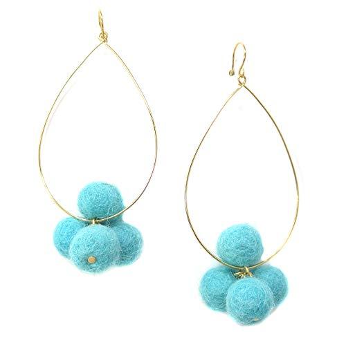 Yochi Goldtone Colorful Designer Ultra Thin Teardrop Pom Pom Hoop Earrings (Aqua) from Yochi