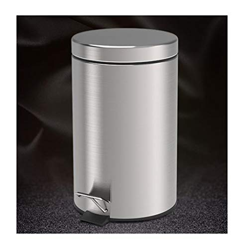 HUANA-Home Dustbin, Stainless Steel Trash Can Drawing, Pedal Trash Can, Volume: 8L
