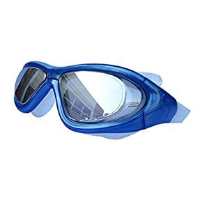 Qishi's Super Big Frame No Press the Eye Swimming Goggles for Adult (blue)
