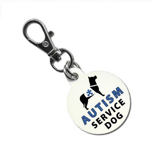 Blue Clam Aluminum (AUTISM SERVICE DOG Blue ADA Medical Alert 1.25 inch Aluminum Dog Tag)