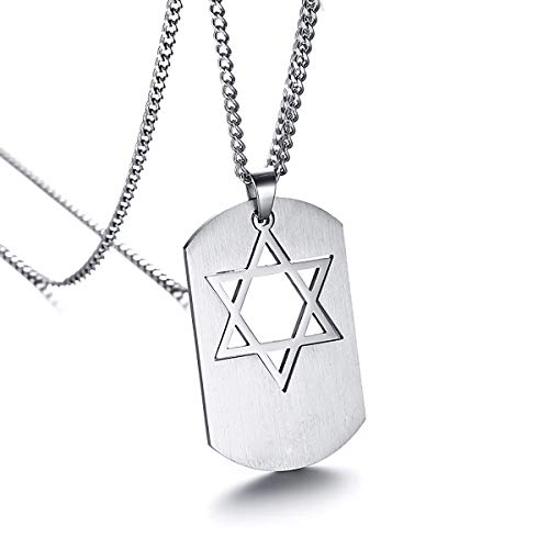 HooAMI Jewish Jewelry Silver Religious Star of David Dog Tag Pendant Necklace