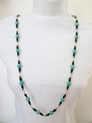 Turquoise Chalk Bead Necklace With Black Crystals ()