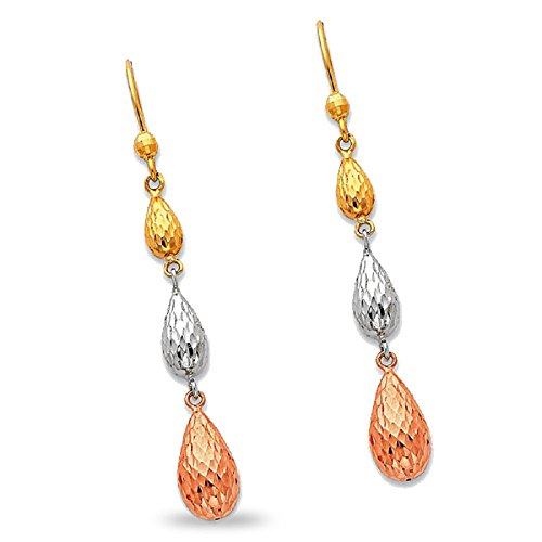 Three Teardrops Dangle Earrings 14k Yellow White Rose Gold Drops Hanging Diamond Cut Tri Color 55 mm ()