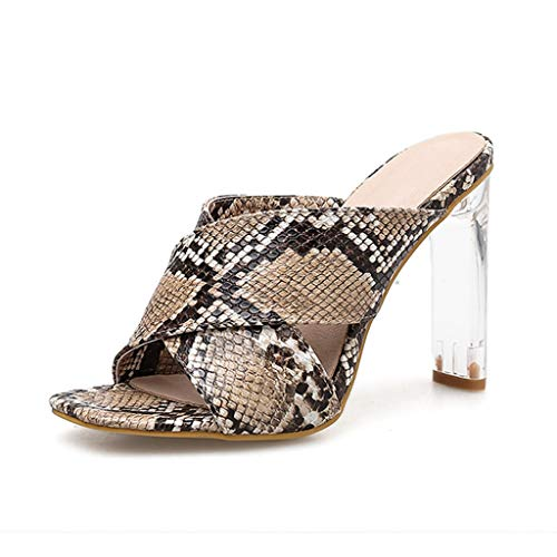Snakeskin Glass Women High Heel Slippers Sandals Platform Shoes Summer ()