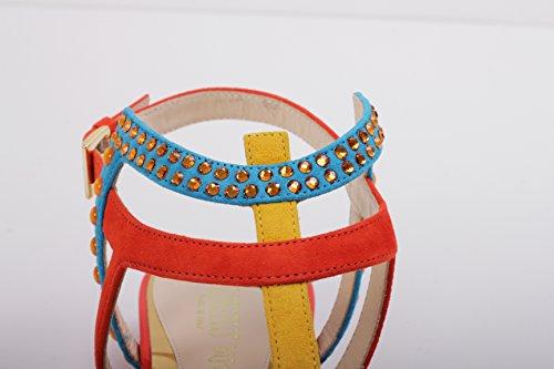 Tacco Sandalo Multicolor Con In Pelle qxwt8a