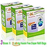 Diaper Refill Bags 35 Packs One Box Baby Bathing with Toss and Hassle Free Blue Bags Green Ring,1050 Count Disposal Snap Seal Diaper Pail Liners,Fully Compatible with Arm&Hammer Disposal (1050 Bags)