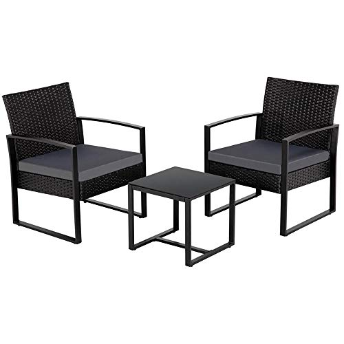 Topeakmart 3 Pieces Wicker Chair Patio Bistro Set Patio Furniture Outdoor Rattan Chairs Conversation Set for Backyard Porch Poolside Lawn, Black