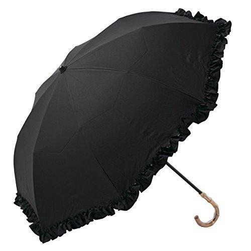 【Rose Blanc】100%完全遮光 日傘 フリル(傘袋付) 2段 折りたたみ 50cm 手元バンブー(竹) (ブラック) B06XS3216Mブラック