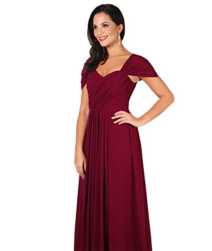 Damen Elegante Abendkleider 4815 Bodenlange KRISP Weinrot UqCvz