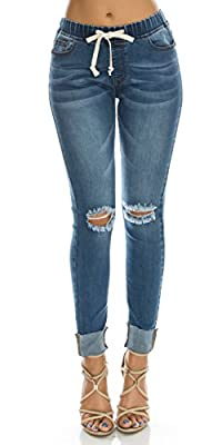 TwiinSisters Women's Stretch Destroyed Denim Jogger with Drawstrings