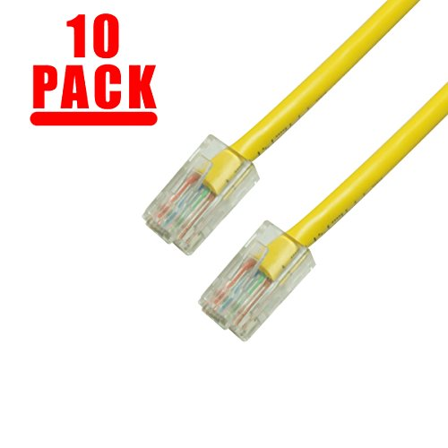 GRANDMAX 10-Pack CAT5e / 7FT/ Yellow / RJ45 Ethernet Network Patch Cable, 350MHz, UTP (7 350mhz Cat5e Foot Network)