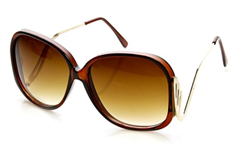Women's Designer Style Vintage Oversized Sunglasses-Assorted Brands (Low Cut Temple Brown)