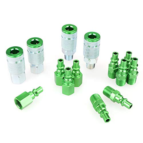 WYNNsky Color Air Fittings, 4 Pieces Air Coupler with 10 Pieces Air Plugs, 1/4 inch NPT, A Style-Green, 14 Pieces Air Compressor Accessories Fittings Kit