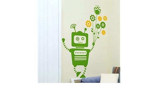 Protección impermeable no tóxico del robot Educación , flores para fijar a la pared verde + amarillo limón: Amazon.es: Hogar