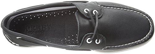 Sperry A/O 2-Eye Leather 0195214 - Mocasines de cuero para hombre Negro/Blanco/Negro