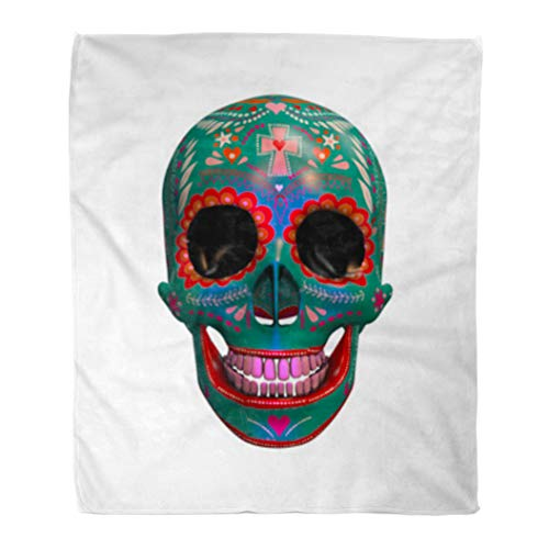 Golee Throw Blanket Calavera 3D Rendering of Sugar Skull Halloween Bizarre Candy CGI 50x60 Inches Warm Fuzzy Soft Blanket for Bed Sofa ()