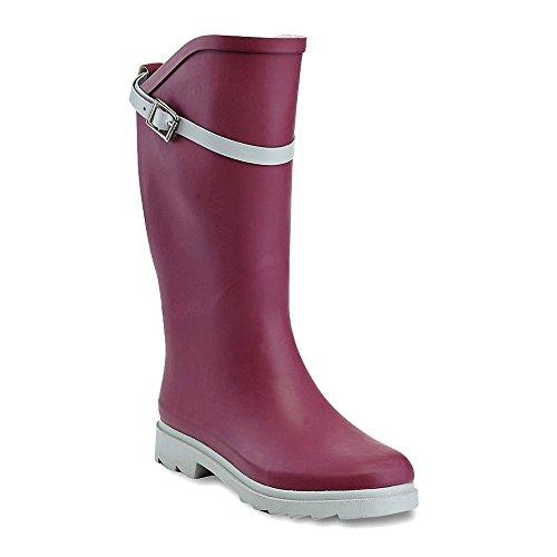 Henry Ferrera Women's Nu Face Waterproof Buckle Trendy Puddles Rainboots (9 B(M) US, Maroon/Grey) (Face Buckle)