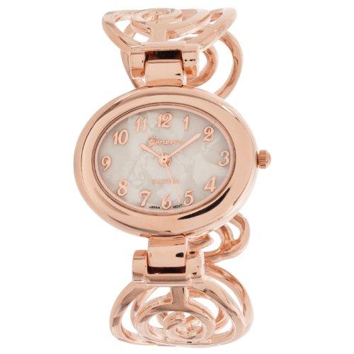 Platinum Geneva Bangle (Geneva Platinum Womens Polished Swirl Cuff Bangle Watch, Rose)