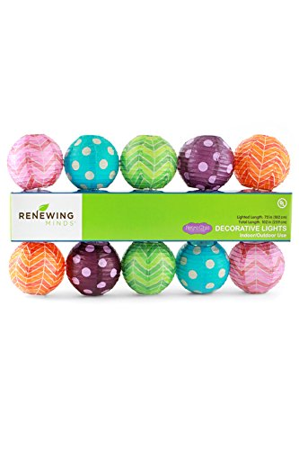 Renewing Minds Retro Chic Collection, Lighted Lanterns, 6 Feet, Assorted Colors, 10 Count (Retro-chic)