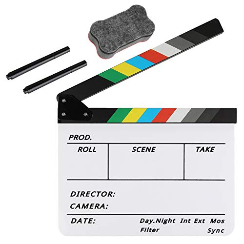 Zacro Acrylic Film Clapboard -12 x 10in Plastic Film Clapboard Cut Action Scene Clapper Board with a Magnetic Blackboard Eraser and Two Custom Pens -