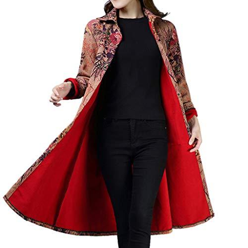 260c8ea463760 De Populaire Parka Lin Long Sur Boutons Mesure Vêtements Veste Rouge Poches  Femmes Manteau Imprimés ...