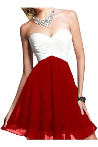 Diseño en forma de corazón de la Toscana de novia vestidos de novia de Gasa de noche corto virgen cóctel vestidos de bola Rojo